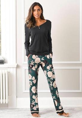 s.Oliver Pyjama - schwarz-dunkelgrün