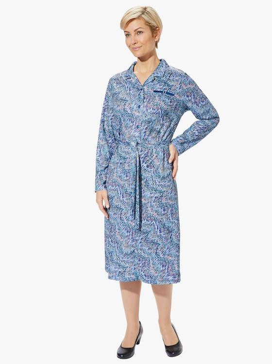 Jersey-Kleid - blau-gemustert