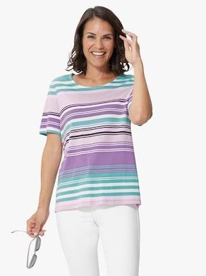 Collection L Shirt - mint/lavendel gestreept