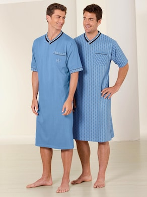 Kurzarm-Nachthemden - blau