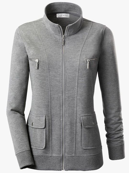 Collection L Shirtjacke - grau-meliert