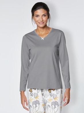 wäschepur Schlafanzug-Shirt - steingrau