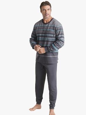 Schlafanzug - grau-geringelt