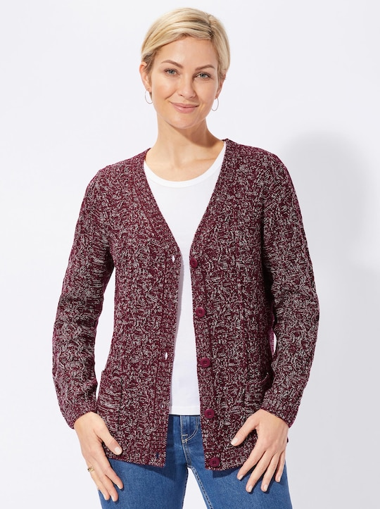 Collection L Strickjacke - weinrot-meliert