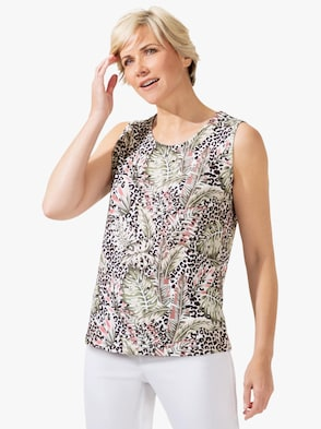Shirttop - ecru-khaki-bedruckt
