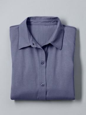 Jersey-Bluse - jeansblau