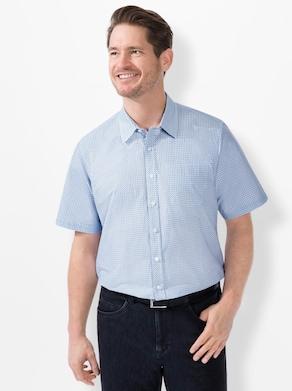 Marco Donati Kurzarm-Hemd - blau-gemustert