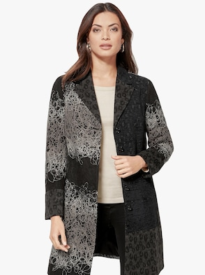 Mantel - schwarz-grau-gemustert