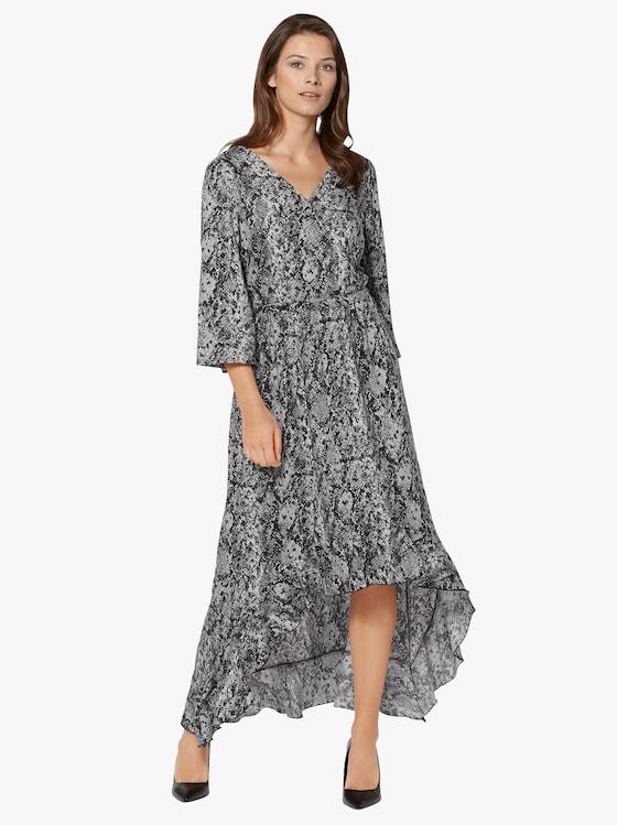 Kleid - grau-schwarz-bedruckt