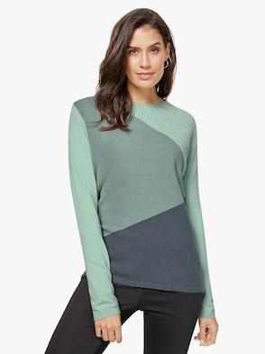 Pullover - wintertürkis-grau-gemustert