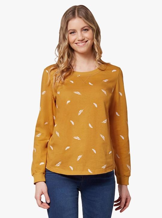 Tričko s dlouhým rukávem - okrová-ecru-potisk