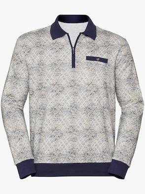 Langarm-Poloshirt - blau-bedruckt