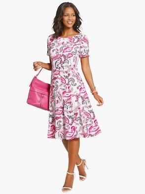 Kleid - ecru-cyclam-gemustert