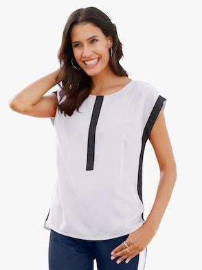 Schlupf-Bluse - weiß-schwarz