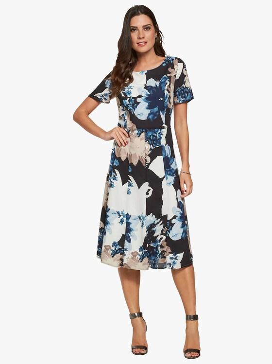 Kleid - schwarz-blau-bedruckt