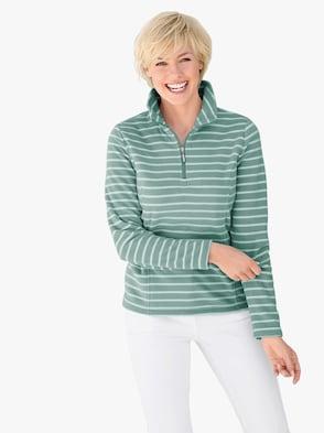 Fleece-Shirt - wintertürkis-gestreift