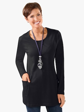 Lang shirt - zwart