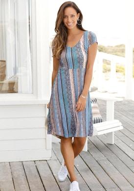 LASCANA Sommerkleid - blau-bedruckt