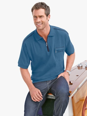 Kurzarm-Poloshirt - jeansblau