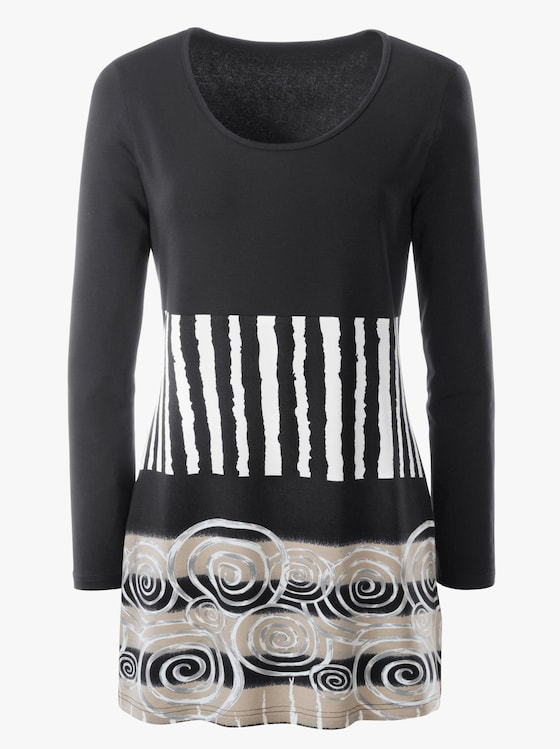 Longshirt - schwarz-gemustert