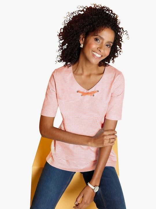Shirt - apricot gestreept