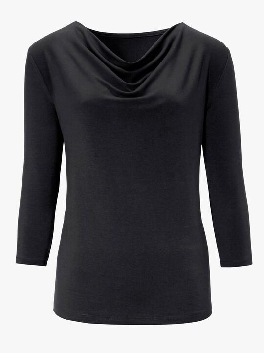 Tričko s řaseným výstřihem - černá