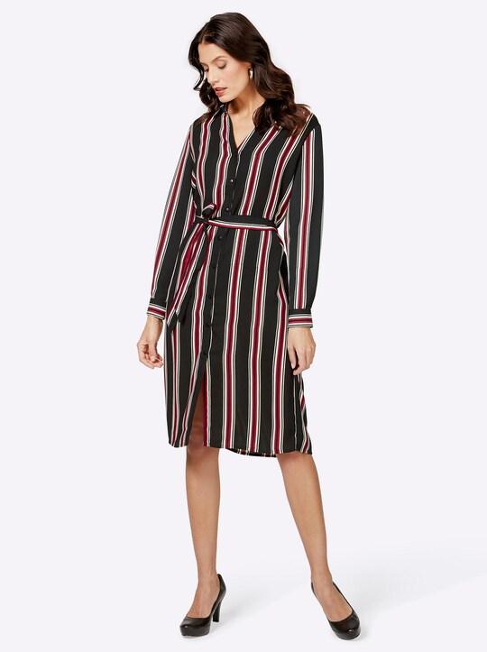 Kleid - schwarz-rot-gestreift