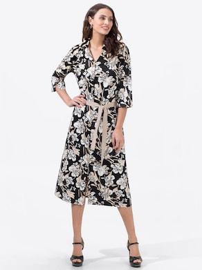 Hemdblusenkleid - schwarz-ecru-bedruckt