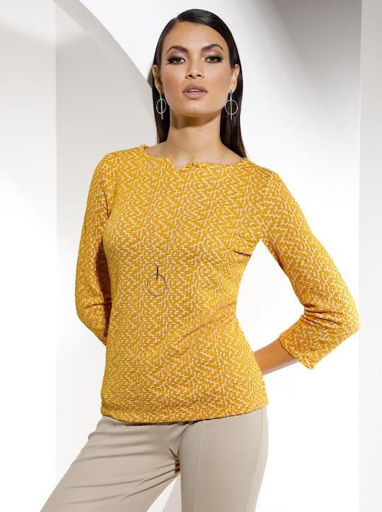Shirt - ocker-ecru-bedruckt