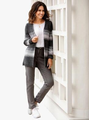 Pletený kabátek - šedá-růžová