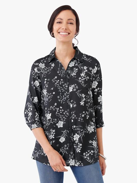 Longline blouse - zwart geprint