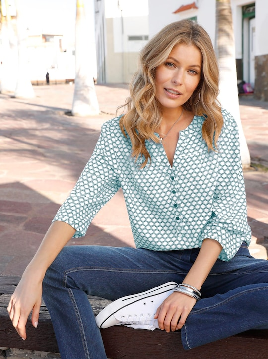 Comfortabele blouse - petrol/ecru bedrukt