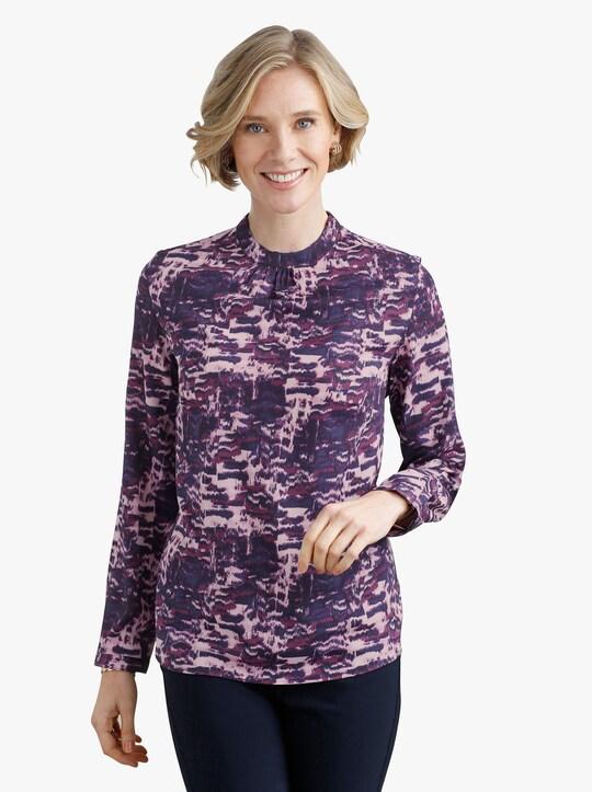 Comfortabele blouse - nachtblauw-roze geprint