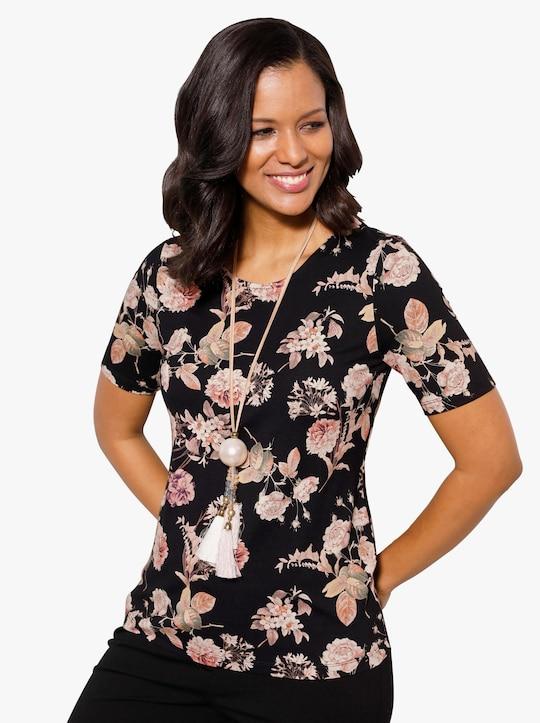 Shirt - schwarz-puder-bedruckt