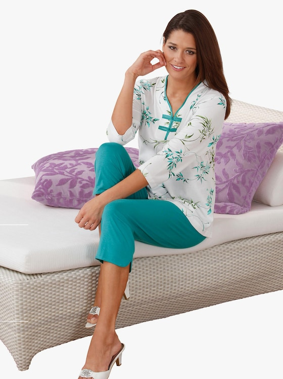 Ascafa Schlafanzug - petrol-bedruckt