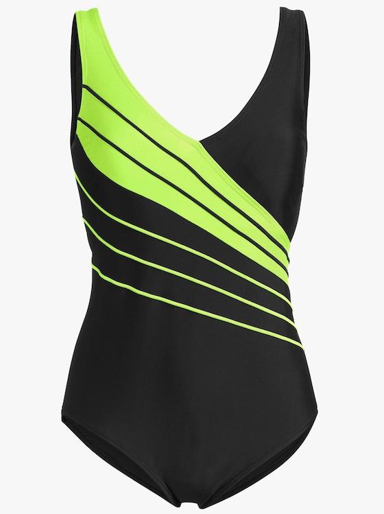 Badeanzug - schwarz-grün