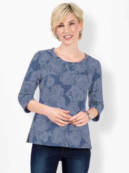Sweatshirt - jeansblau-gemustert