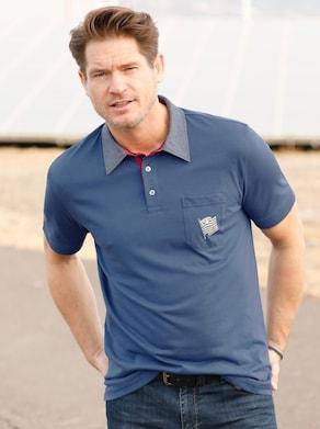 Marco Donati Kurzarm-Shirt - jeansblau