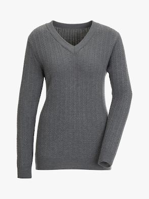 Merino-Kaschmir-Pullover - grau-meliert