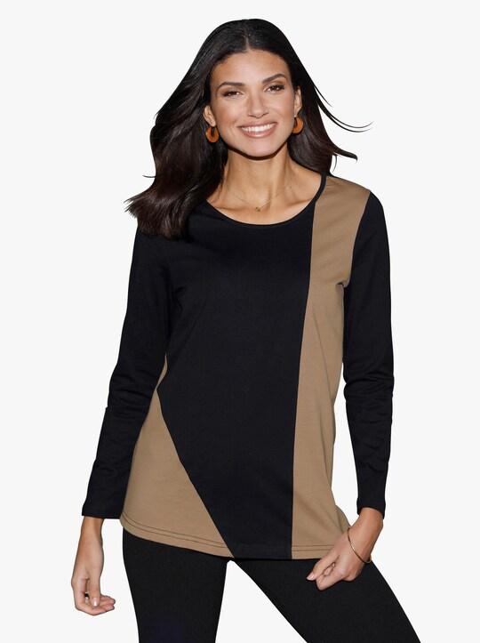 Shirt - zwart/camel gedessineerd