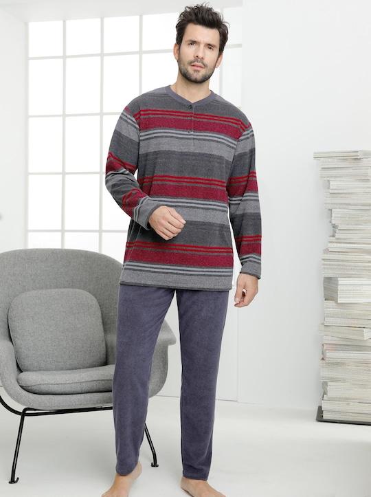 Normann Schlafanzug - grau-rot-gestreift