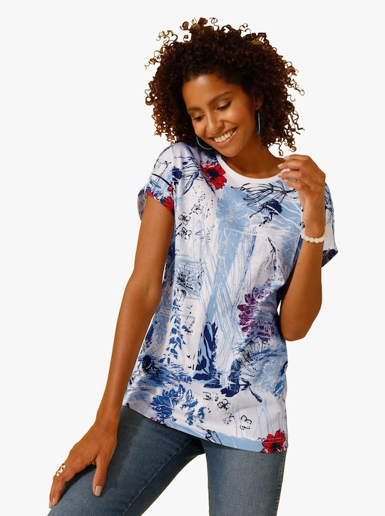 Shirt - weiß-blau-gemustert