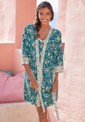 LASCANA Kimono - rauchblau-ecru
