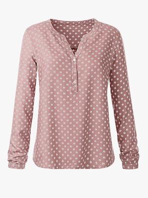Schlupf-Bluse - rosé-bedruckt