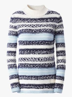 Pullover - ecru/marine gestreept