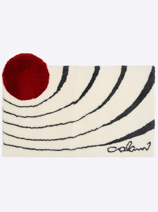 Grund Badematte - weiß-rot