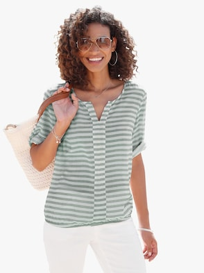 Bluse - mint-gestreift