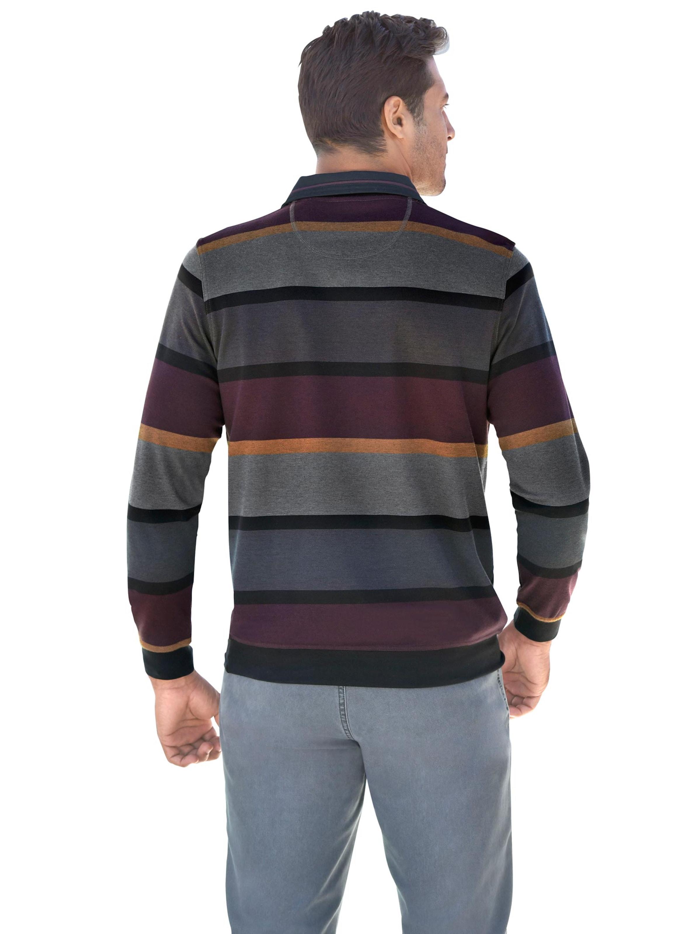 witt weiden - Herren Langarm-Shirt anthrazit-bordeaux