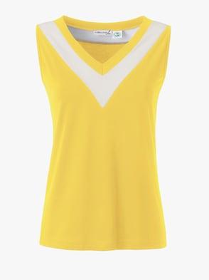 Shirttop - gelb-weiß