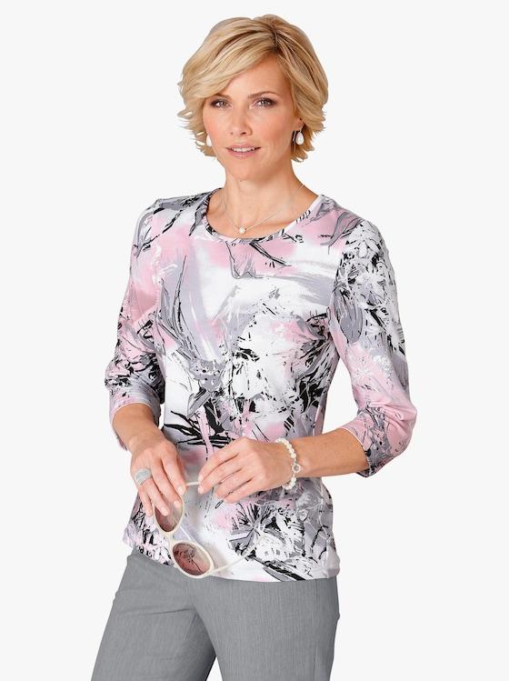 Shirt - rosé-grau-bedruckt